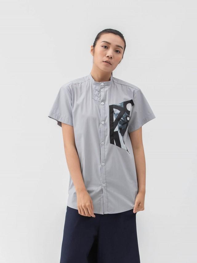 WEAVISM 【耳機控 】耳機孔短袖襯衫 - 灰