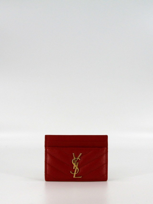 Saint Laurent MONOGRAM 系列 V 字縫線魚子醬牛皮金釦名片夾 x 紅色