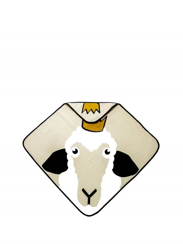 baby Livia 連帽有機棉浴巾 - 綿羊 x 米色