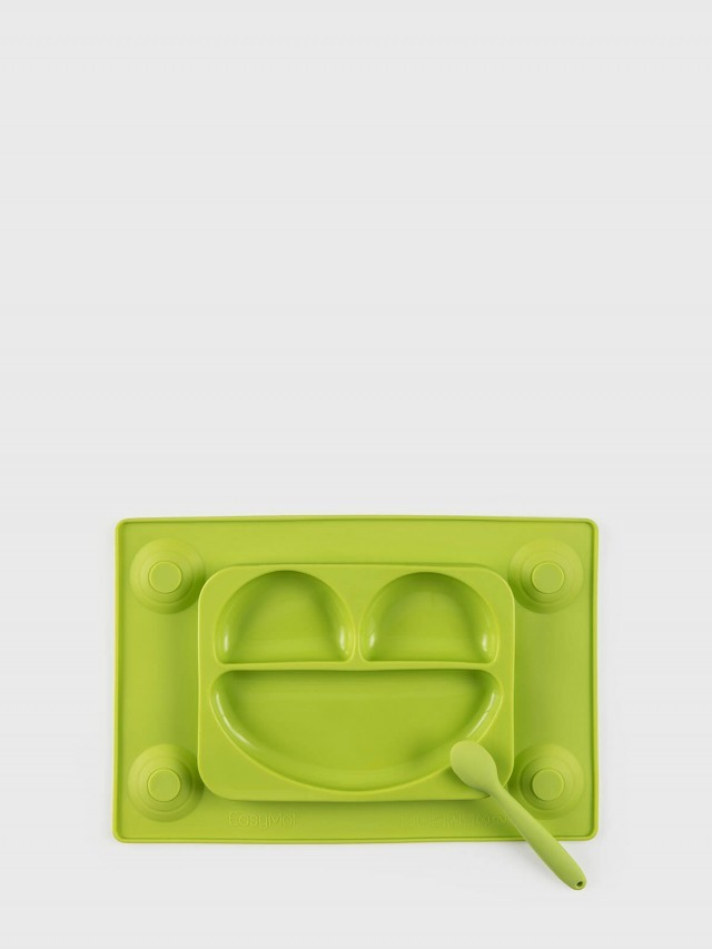 EasyTots EasyMat 防滑矽膠餐盤組 - 萊姆綠