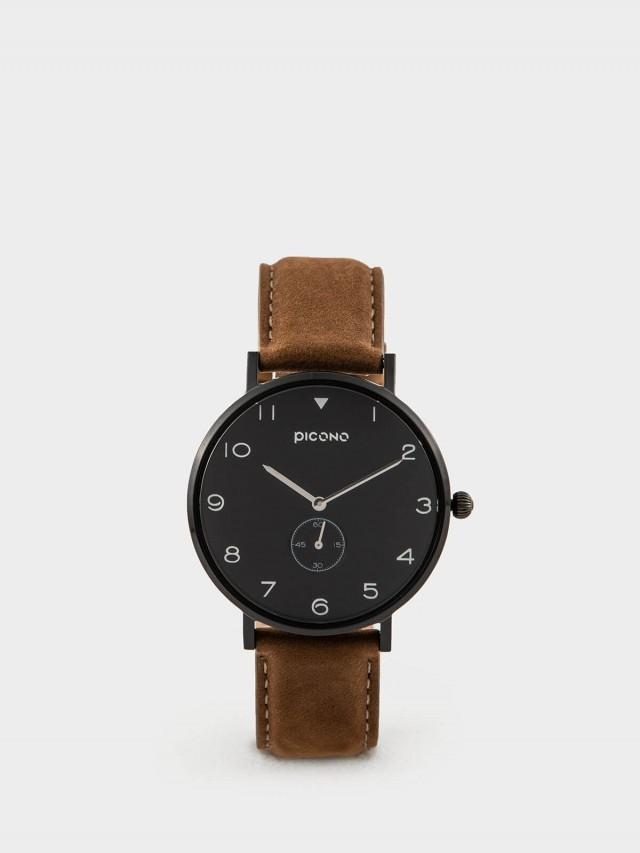 PICONO SPY S 系列 - 真皮錶帶手錶 - 極致黑
