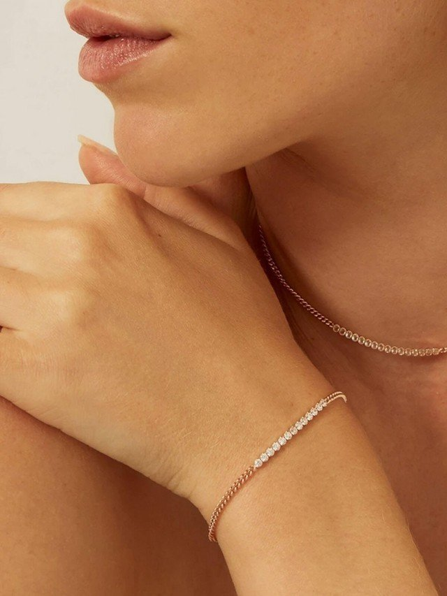 aleyolé 閃耀奢華 925 純銀鍍 18K 玫瑰金手鍊