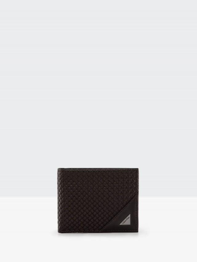 Calvin Klein 深咖質感編織真皮附活動卡夾雙折短夾