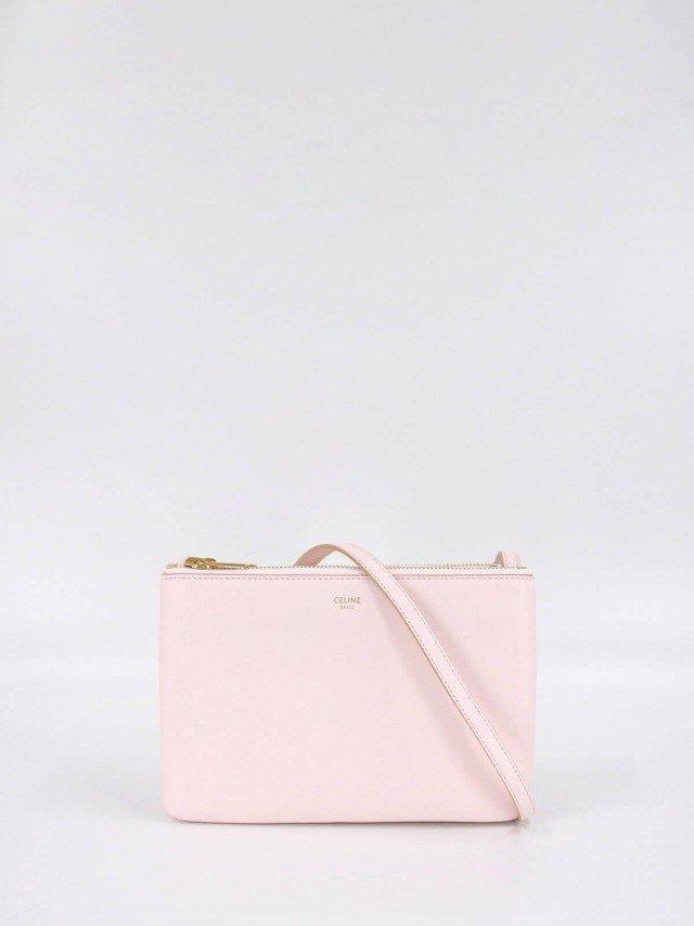 CELINE TRIO 平滑羊皮金釦小款斜背 / 側背包 x 淡粉紅