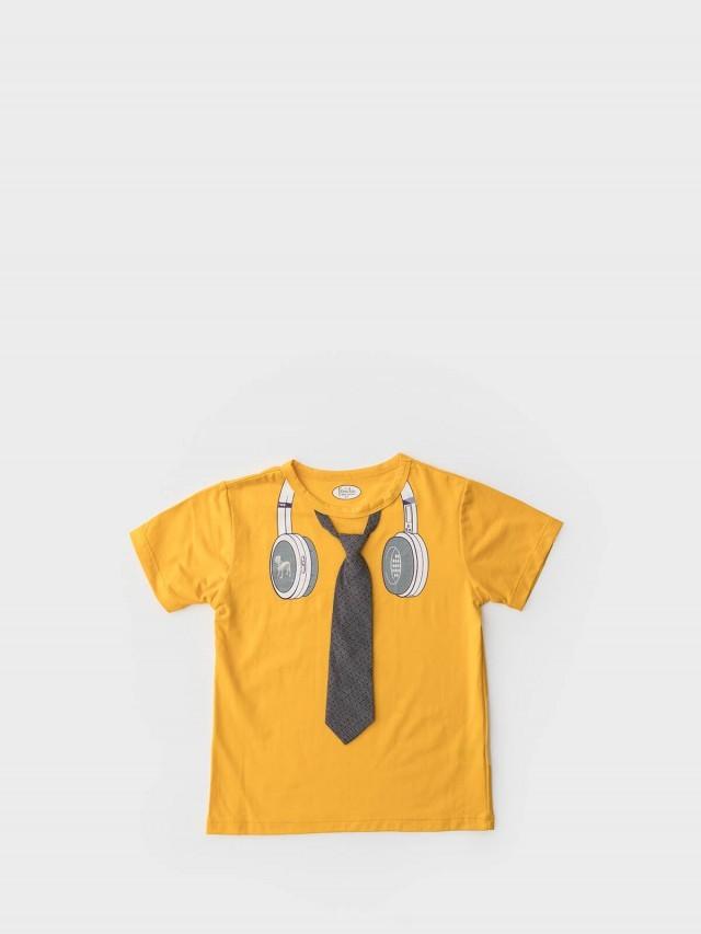Frenchie mini couture 男童短袖上衣 - 小型男耳機領帶 / 黃色