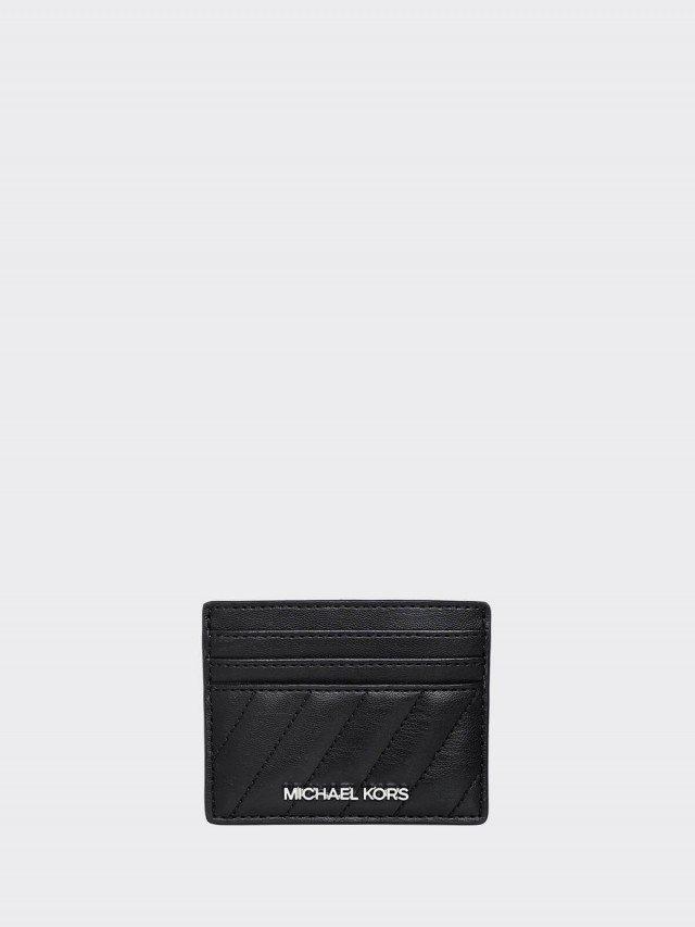 MICHAEL KORS 黑色全皮珩縫斜紋一片式雙面票卡夾
