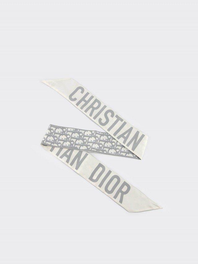Dior OBLIQUE MITZAH 大寫字母標誌真絲斜紋布絲巾 x 灰色