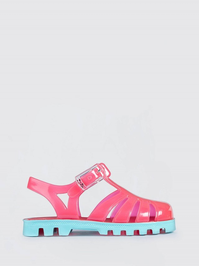 JuJu PROJECT Jelly 兒童繽紛果凍涼鞋 - 粉紅 x 粉藍