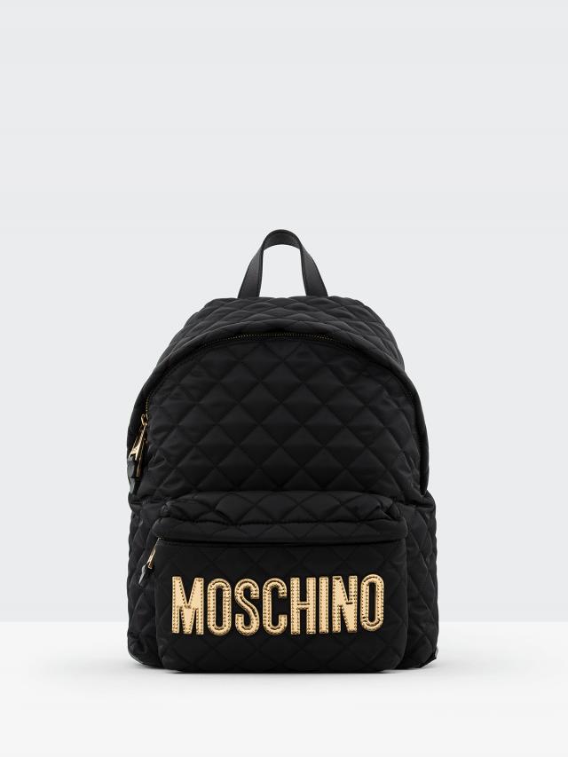 MOSCHINO 經典菱格紋縫線金色 LOGO 尼龍後背包 - 大  / 黑色