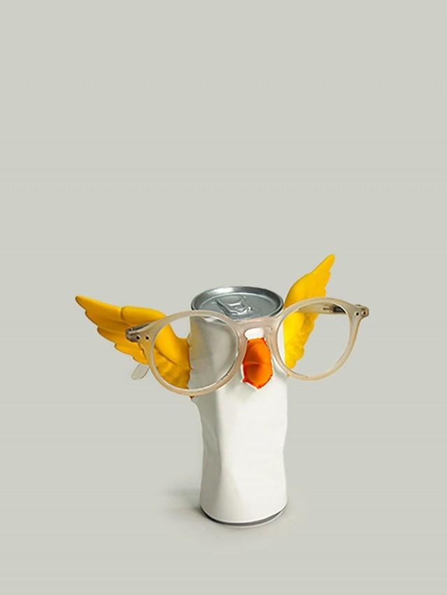 antartidee 易拉罐小鳥造型眼鏡架 - 白
