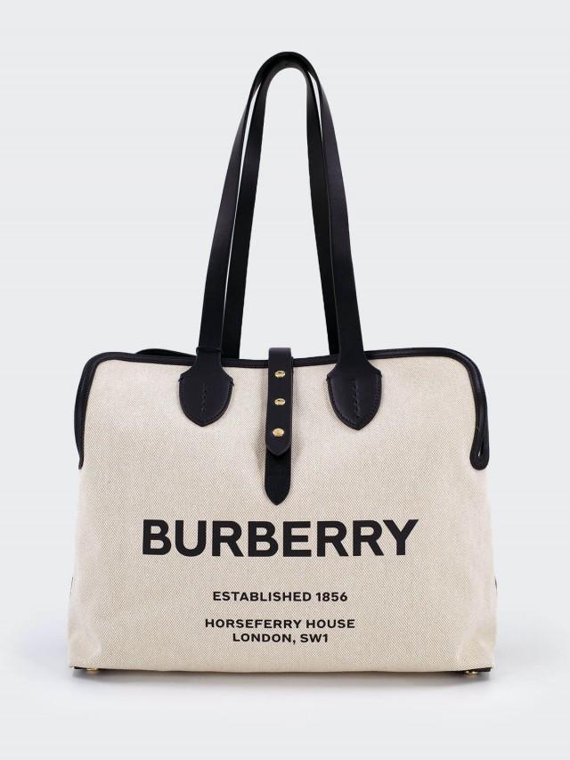 BURBERRY The Belt 牛皮背帶搭柔軟棉質帆布中型肩背包