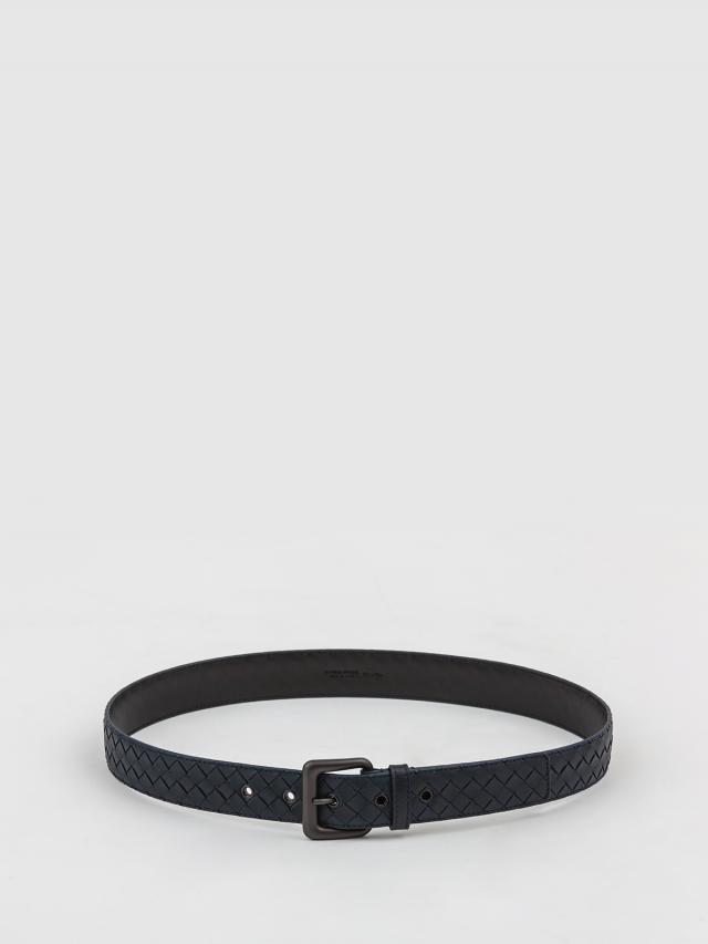 BOTTEGA VENETA 經典編織小牛皮寬版腰帶 / 皮帶 - 35mm / 深藍