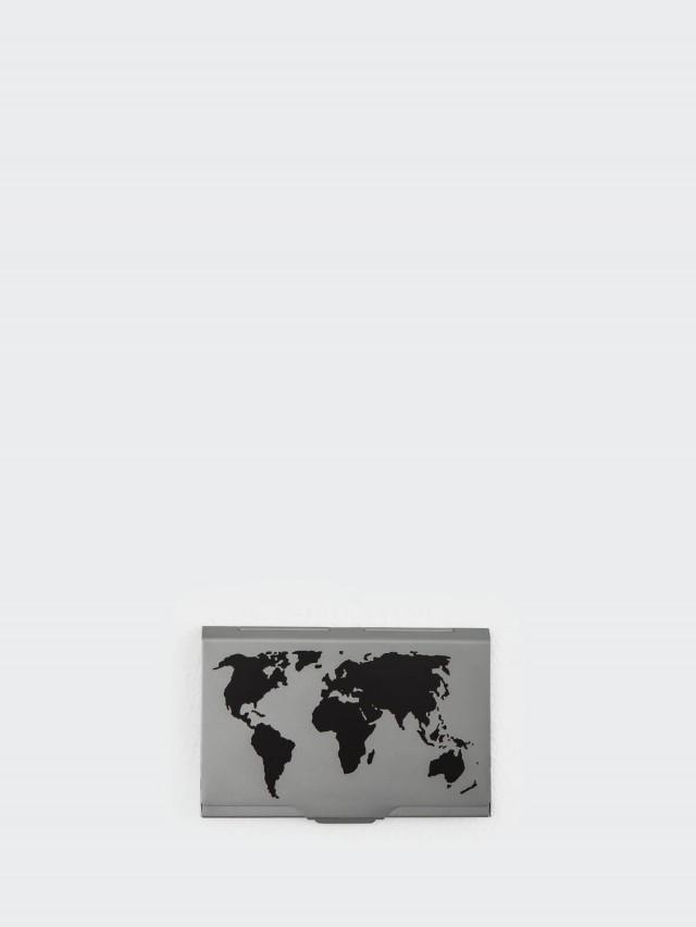 TROIKA 世界地圖輕巧名片夾 - 鈦色