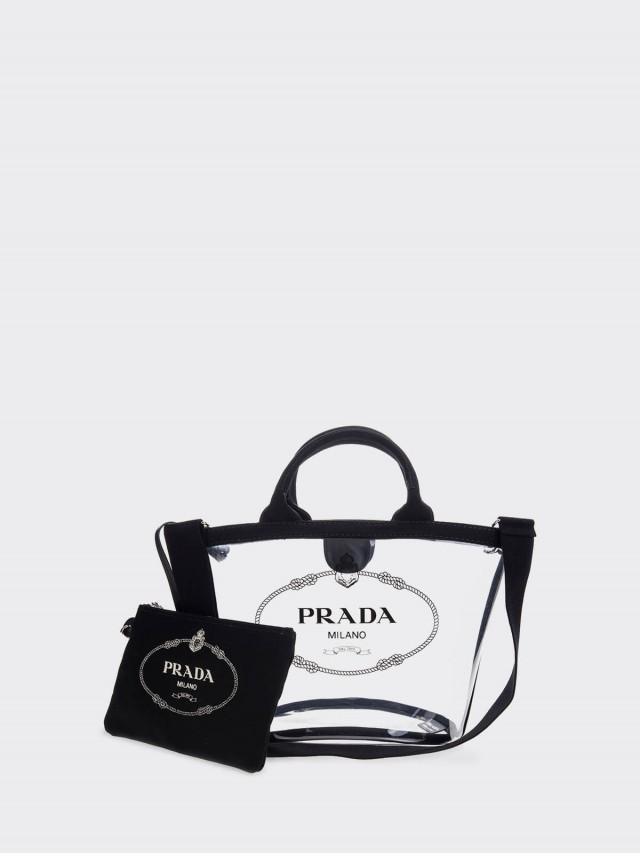PRADA 透明 PVC 印字 LOGO 手提 / 肩背兩用水桶包附小袋 ( 小 / 黑色 )