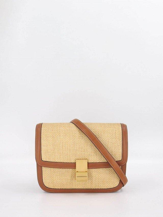 CELINE FAÇON 拉菲草布料編織及小牛皮中型 CLASSIC 手袋