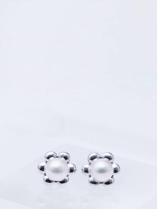 ASAHI JEWELRY あこや花型真珠耳環