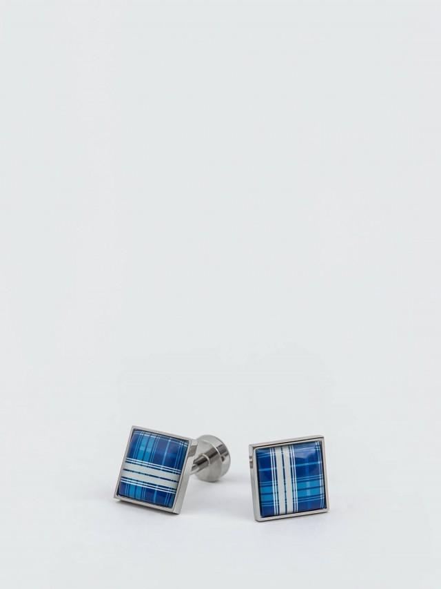Würkin Stiffs 不鏽鋼袖釦 - PLAID BLUE x WHITE 格子花呢 藍 x 白 / 方形
