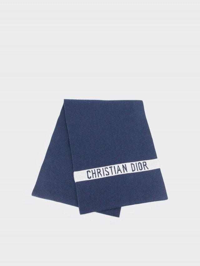 Dior J'ADIOR 字母 LOGO 羊毛大款圍巾 x 海藍色
