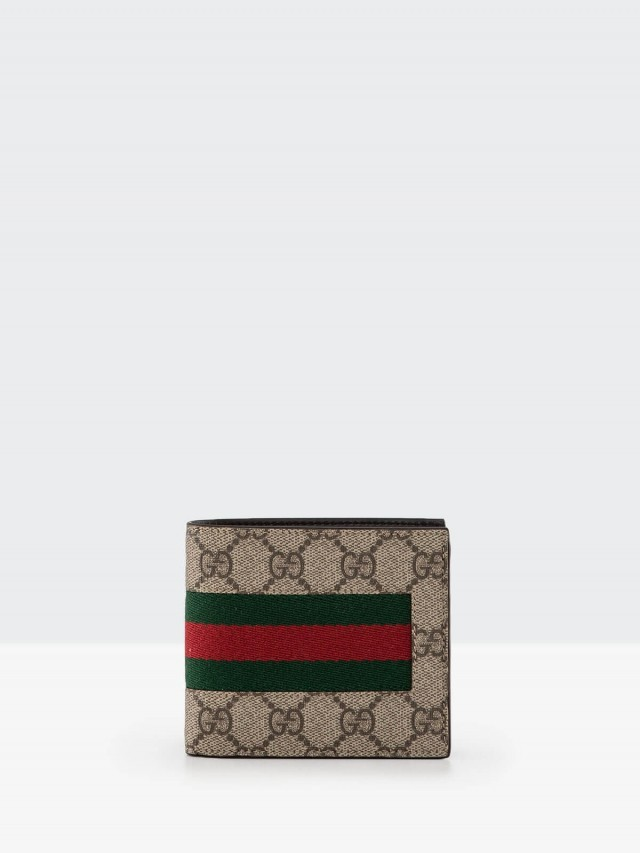 GUCCI GG Supreme 綠紅綠織帶零錢袋折疊短夾 - 咖啡
