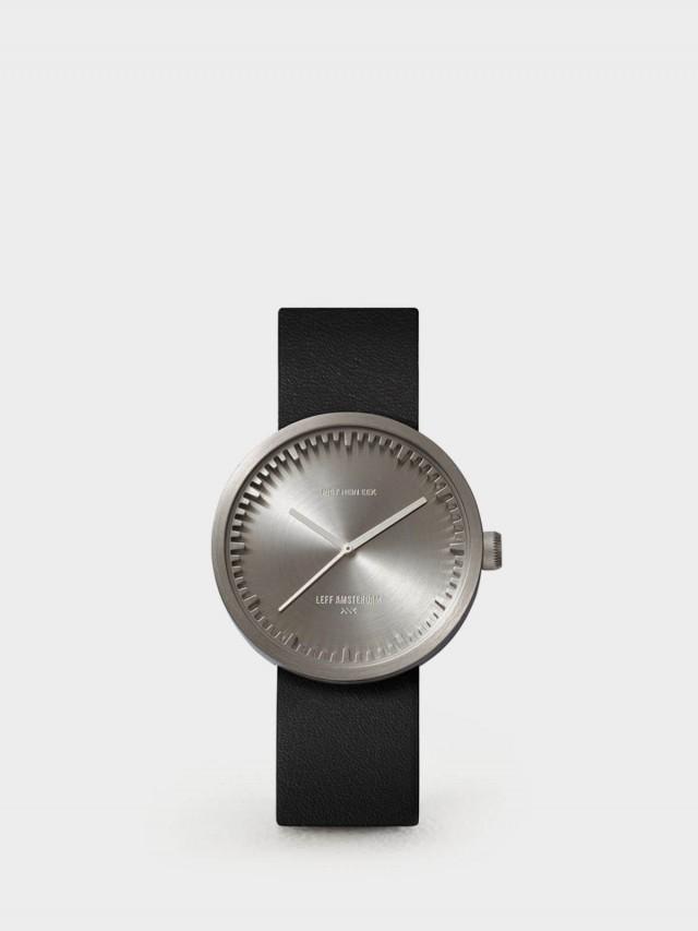 LEFF amsterdam tube 北歐工業齒輪設計真皮腕錶 - 38 mm 不鏽鋼 / 黑皮帶