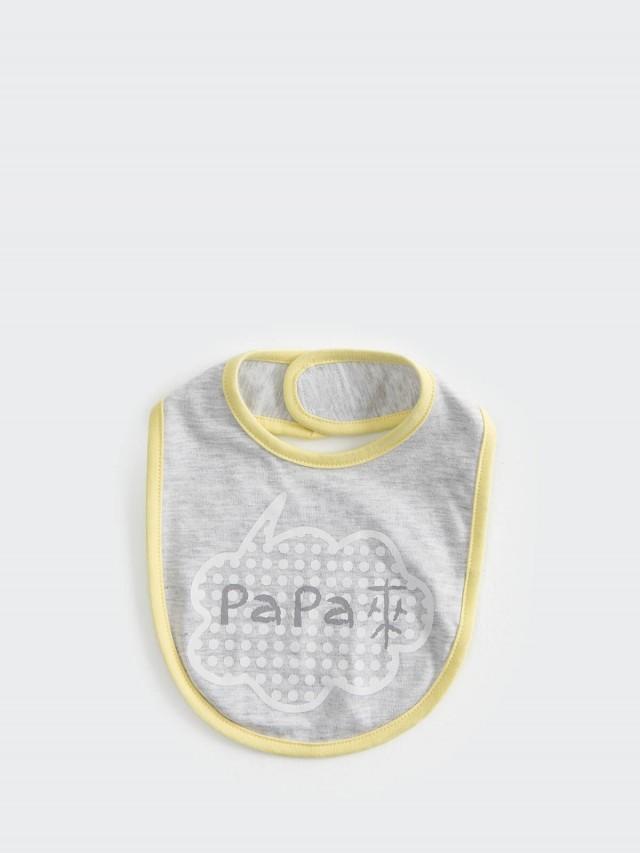 CLARECHEN 嬰兒發聲圍兜 - Papa 來 / 灰黃