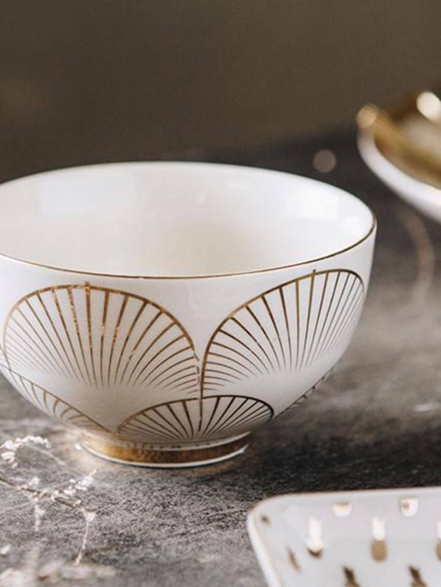 Bloomingville 金色仲夏系列 - 棕梠圖騰陶瓷碗