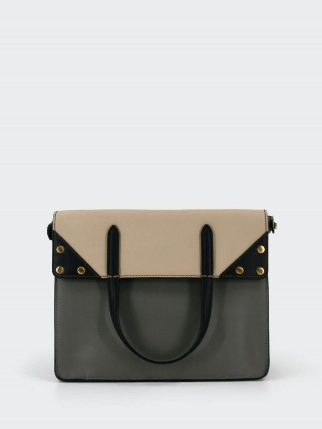 FENDI FLIP Bag  Small 小牛皮撞色 F 揹帶肩背包 - 灰 x 米白