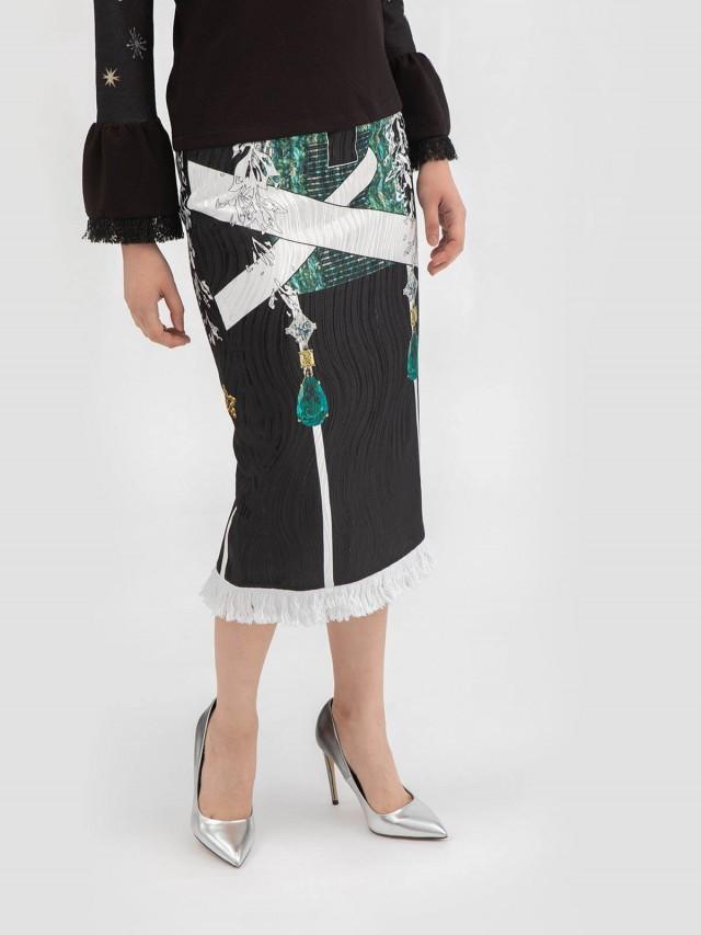 LABRIELLS 祖母綠星塵印花鉛筆裙