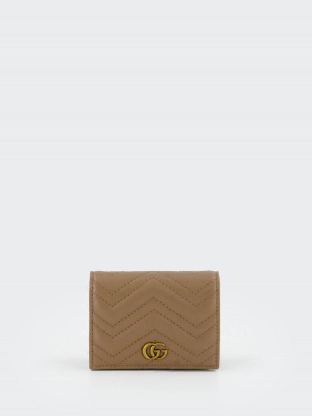 GUCCI GG Marmont 系列絎縫紋牛皮金屬雙 G LOGO 暗釦卡夾 / 零錢包 x 裸色