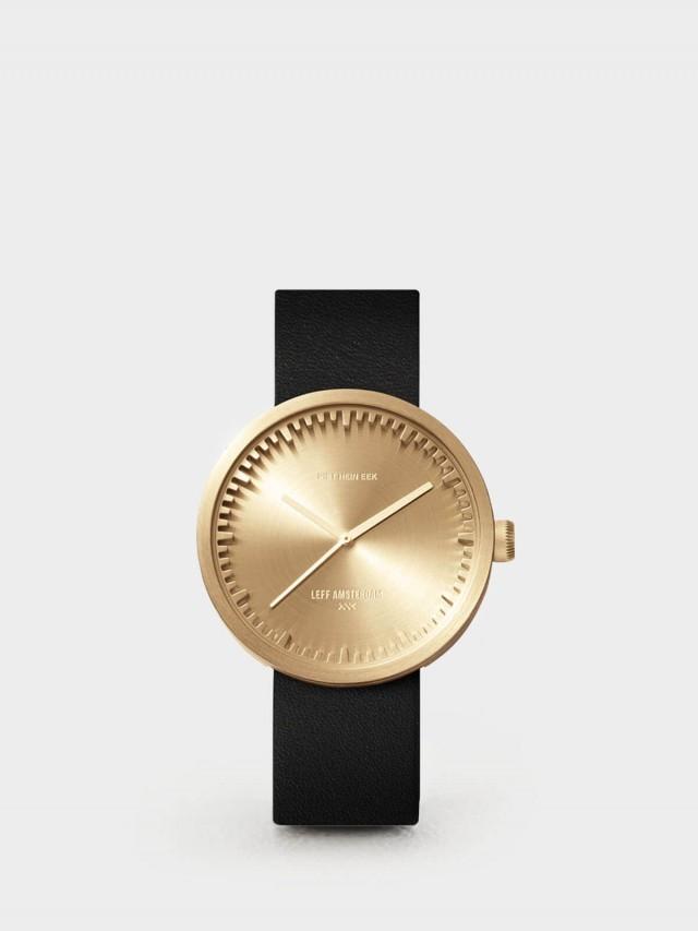LEFF amsterdam tube 北歐工業齒輪設計真皮腕錶 - 42 mm 黃銅 / 黑皮帶