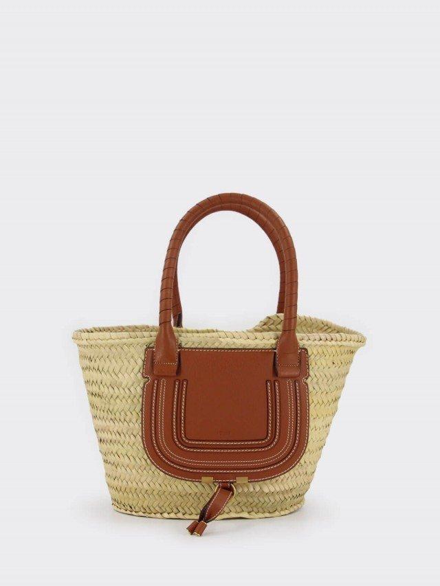Chloé 中號 Marcie 手工竹編編織粒面小牛皮手提購物包