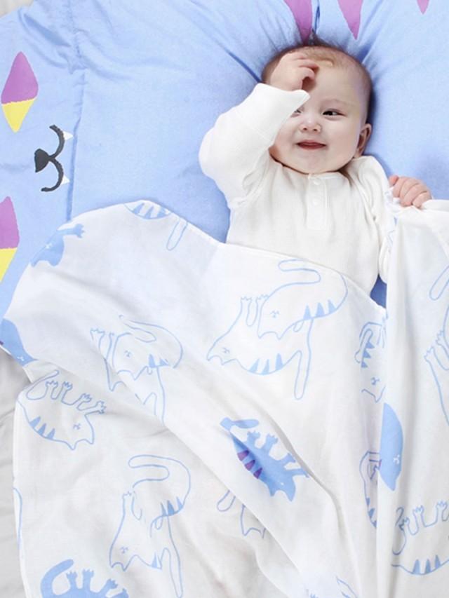 DABY 酷貓小怪獸純棉包巾