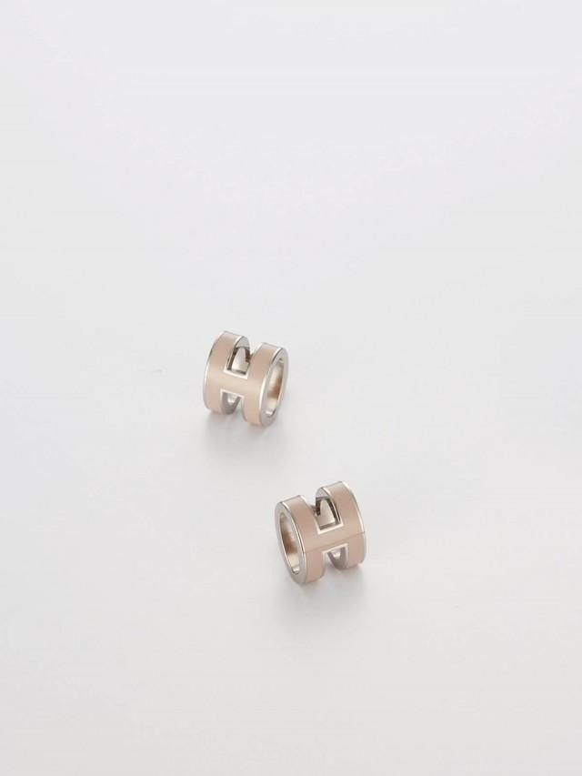 HERMÈS POP H 橢圓琺瑯耳環 - 銀 x 灰