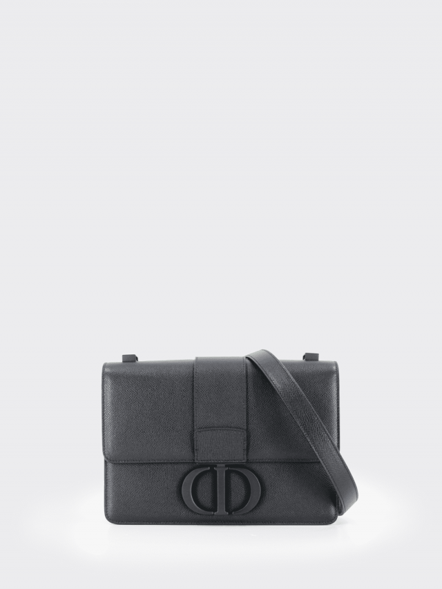 Dior 30 Montaigne 超啞光顆粒小牛皮黑釦 CD 字母翻蓋式手提 / 肩背包 x 黑色
