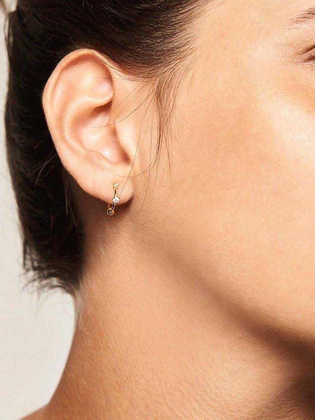 PD PAOLA 極簡迷你鍍 18K 金鋯石耳環