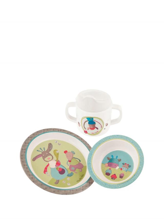 Moulin Roty 喬麗絲寶寶安全快樂杯盤禮盒組 (盤、碗、杯三件組)