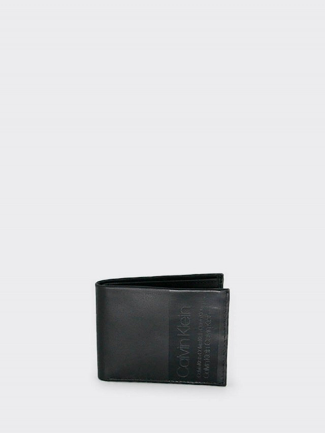 Calvin Klein CK 全皮雙折短夾 x 黑