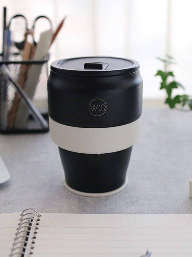 W10 雙層不鏽鋼折疊隨身杯 - 錘紋黑