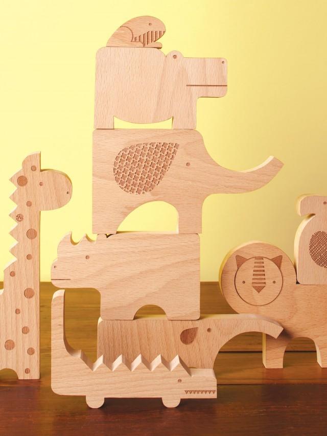 petit collage 動物立體原色積木 - 野生動物