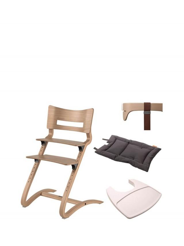 Leander 新款二代成長型餐椅套組 - 組合A ( 水洗木餐椅 + 二代護欄 + 餐盤 + 坐墊 )