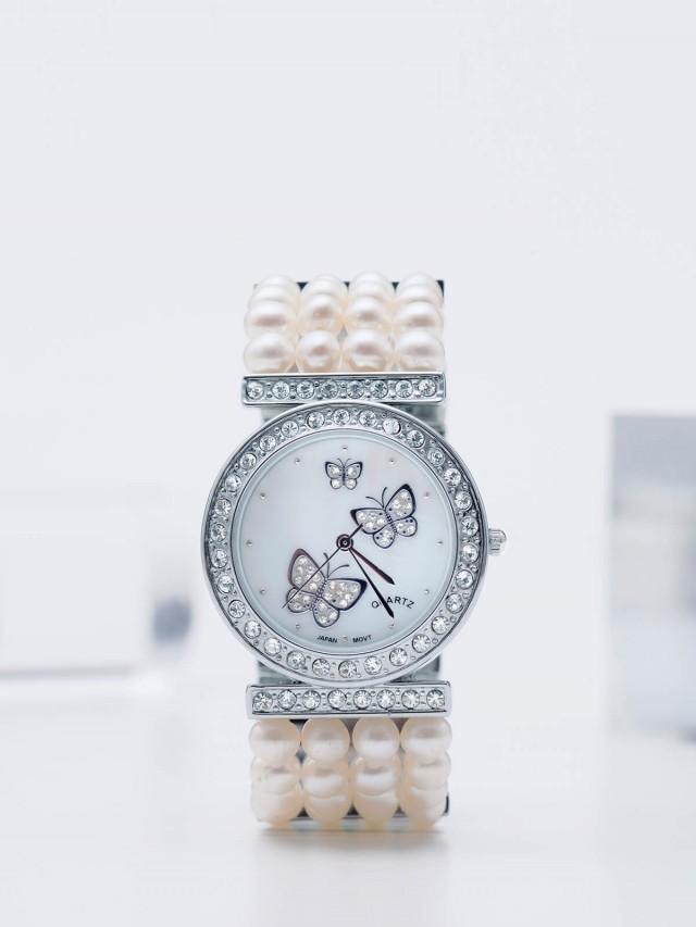 ASAHI JEWELRY 蝴蝶四排真珠鑽錶