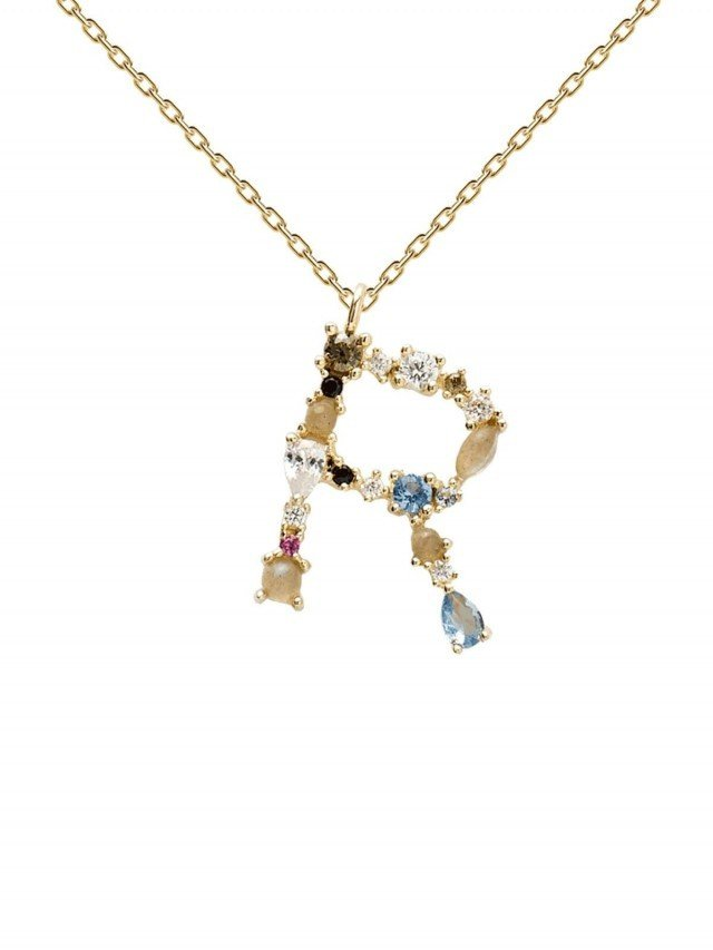 PD PAOLA 彩鑽寶石項鍊 字母 R