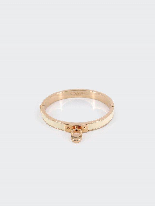 COACH 金色白珐瑯 C 字母吊飾細版夾式手環