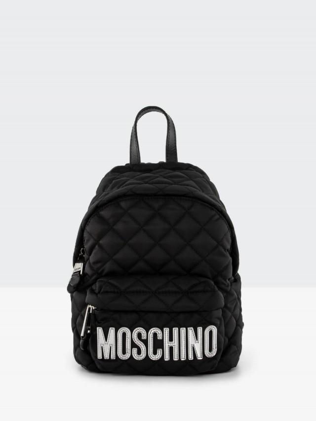 MOSCHINO 菱格紋縫線銀字 LOGO 尼龍斜揹 / 後背包 - 小 x 黑色