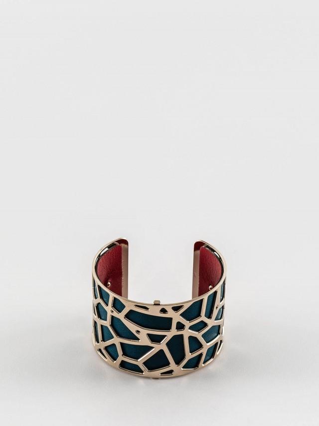 Les Georgettes 金色寬版長頸鹿紋手環 + 寬版手環皮革藍綠 / 紅莓