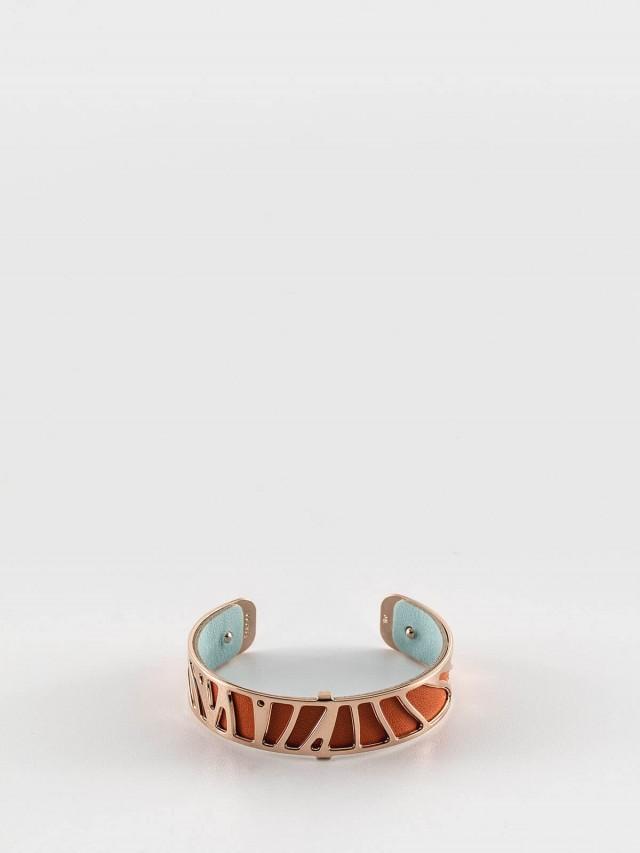 Les Georgettes 玫金色細版鸚鵡紋手環 + 細版手環皮革橘 / 藍