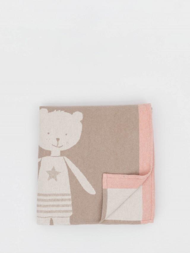 David Fussenegger 晚安寶貝熊 - 嬰童四季綿朵朵毯 - 粉棕