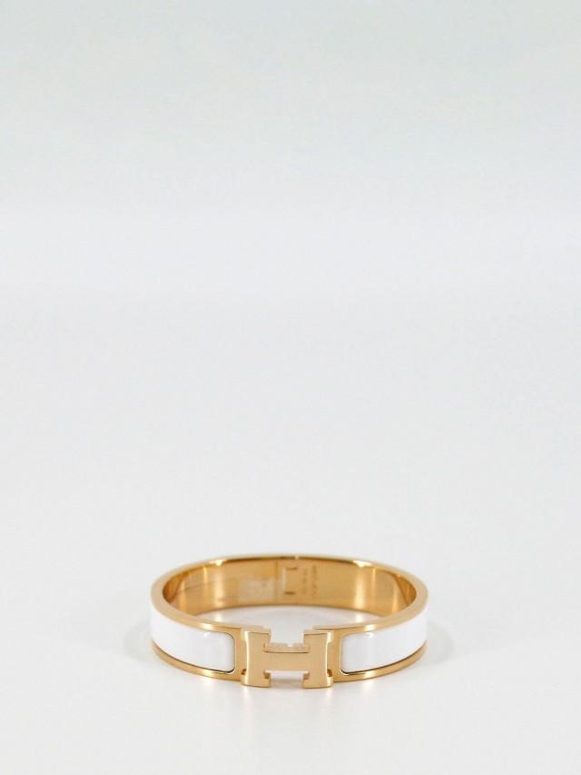 HERMÈS 白色 H 琺瑯玫瑰金釦 - 細版 x S 號