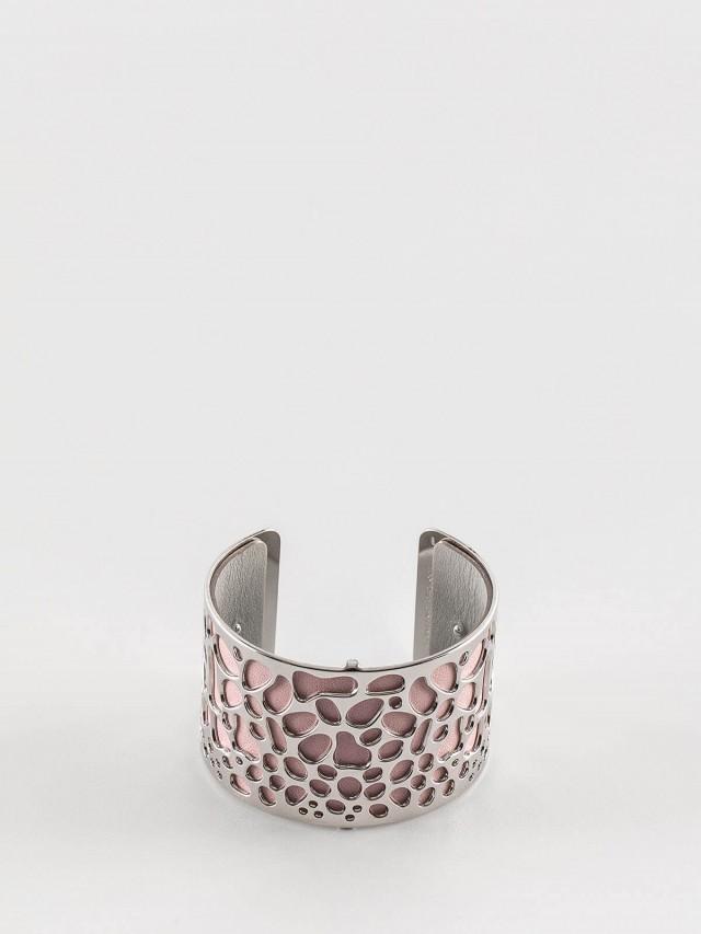 Les Georgettes 銀色寬版魚鱗紋手環 + 寬版手環皮革淺粉 / 淺灰