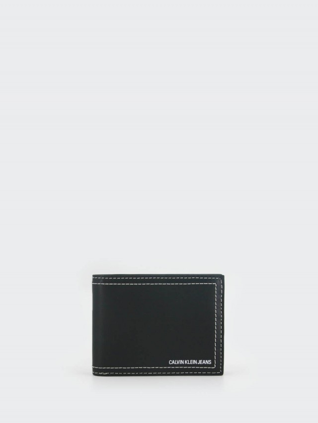Calvin Klein CK 黑色真皮車線裝飾雙折短夾